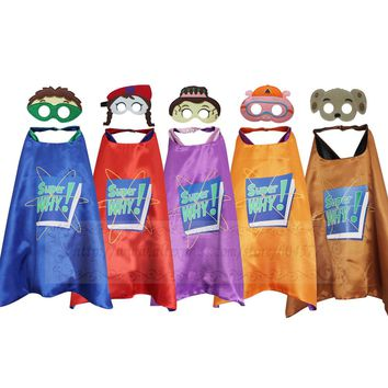 Super Why Costumes Cape with Masks Cosplay Party Favors Kids Wyatt Princess Pea Wonder Red Dress Up