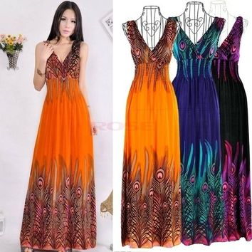 Fashion Women Sexy Bohemian Peacock Tail Hawaiian V-neck Long Beach Dress Summer Party Holiday Dress  (Plus Size : S - XL)