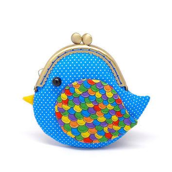 Cute ocean blue bird clutch purse by michellechan1010 on Etsy