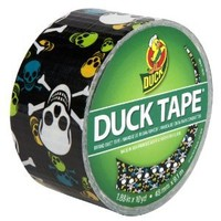 Duck Brand 280422 Skulls Printed Duct Tape, Black/Multicolor, 1.88 Inches x 10 Yards, Single Roll
