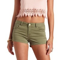 Refuge Side-Zip High-Waisted Shorts by Charlotte Russe - Olive