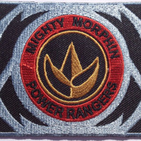 Mighty Morphin Power Rangers Iron on Patch / Embroidered Green Ranger Morpher Belt T-Rex Dino Thunder Collectors Badge