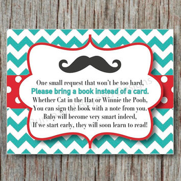 Aqua Red Little Man Baby Shower Digital Book Request Invitation Insert Card Mustache Instant Download - 013