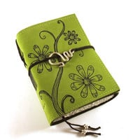 Leather Journal Handmade Spring Flowers by Kreativlink on Etsy