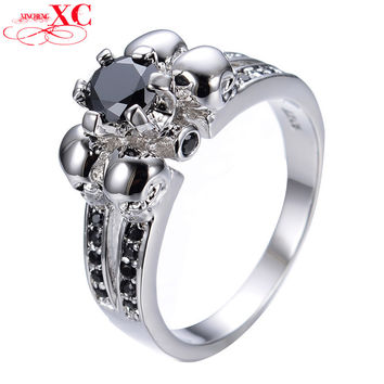 Vintage Skull Black Sapphire Jewelry Halloween Gift Sz 5-10 Women/Men Ring Anel Aneis White Gold Filled CZ Wedding Rings RW1129