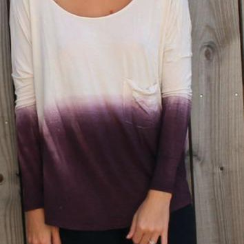 Day-First™ Ombre Long-Sleeve Open-Back Loose Shirt