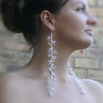 Dangle Long Earrings. White Earrings. Beadwork. Shoulder Duster Earrings