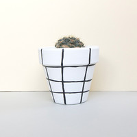 Monochrome Grid Painted Plant Pot - 11cm by This Way To The Circus