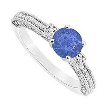 Sapphire and Diamond Engagement Ring : 14K White Gold - 1.00 CT TGW