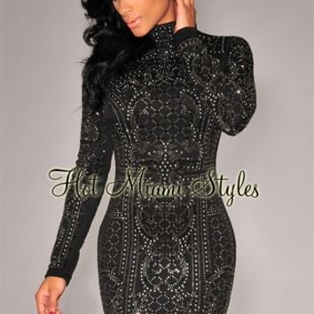 Black Chrome Stones Quilted Turtleneck Dress