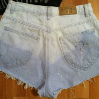 Ombré Bleach Dipped High Waist Jean Shorts with Stud by MiGente