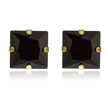 14k Yellow Gold 7mm Square Black Stud Earrings with Silicone Back