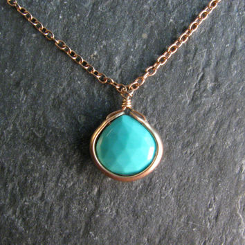 "Robins Egg Blue Arizona Turquoise Bezel Wrap 16 - 18"" Layering Necklace in Bronze - Turquoise and Gold - Pendant Necklace - Modern Romance"