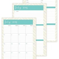July 2015 - June 2016 Susy Jack Herringbone Weekly/Monthly 3-hole Punch Planner Refill 5.5 x 8.5