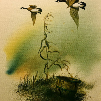Original Watercolor of Canadian Geese Flying Over Country Field, Signed L. Johnson '79