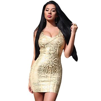 Foil Print Bandage Dress In Gold LAVELIQ