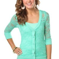allover lace button front cardigan  - debshops.com