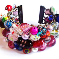 Beaded cuff bracelet candy rainbow colours