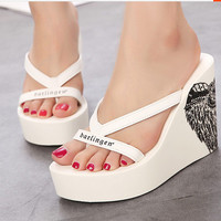 Summer Wedge High Heel Slippers [6050418945]