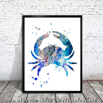 Crab 3 Watercolor Print, Crab art, sea art, watercolor painting, watercolor art, Illustration,  home decor wall art, watercolor animal,