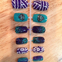 Hand painted press-on nails teal and purple diamonds and leopard