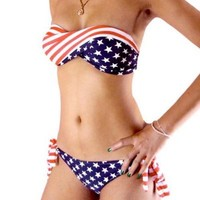 NewNow Two-Piece Stars and Stripes Padded Twisted Bandeau Tube American Flag Swimwear Bikini BRA S