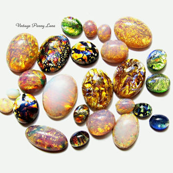 Salvaged Vintage Glass Cabachons, Jelly Opal / Dichroic