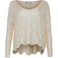 Cameo Rose Cream Wavy Sequin Knitted Top