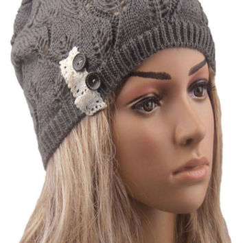 Dark Gray Buttons And Lace Hollow Out Knitted Beanie