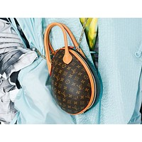 LV Louis vuitton fashion new egg-shaped printed double complexion slanted shoulder bag