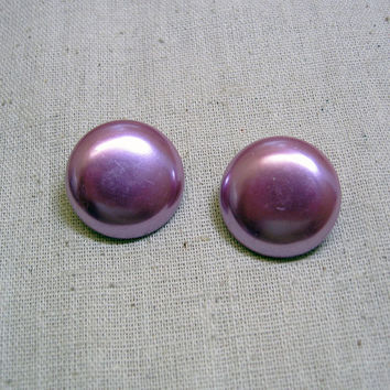 1960s Light Raspberry Pearlized Button Clip Earrings
