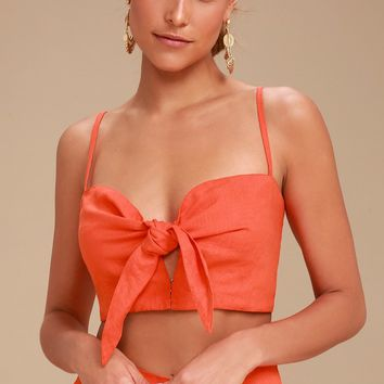 De Fiori Coral Red Tie-Front Crop Top