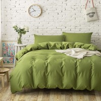 Cool 4PC 100% Cotton plain solid color bedding sets army green duvet covers single twin full queen king size bed sheets linenAT_93_12