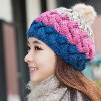 DCCKJG2 Elegant Womens Winter Rabbit Fur Hat Female Fall Knitted Hats For Woman Cap Autumn And Winter Ladies Fashion Skullies Beanies