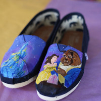 Beauty and the Beast Belle and Beast with Castle Painted TOMS or Vans Artwork and Shoes included