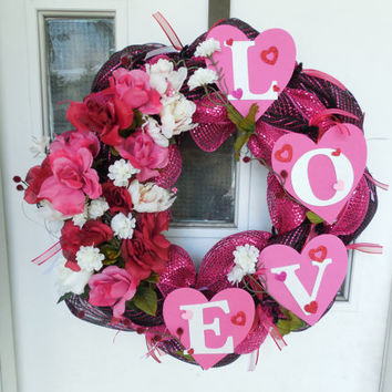 "Pink and black ""LOVE"" deco mesh wreath with hearts and flowers"