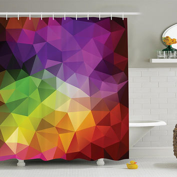Geometric Colorblock Triangles Fabric Shower Curtain