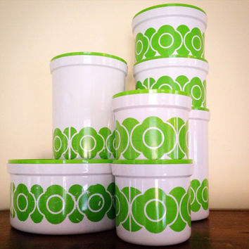 Retro Decor Kitchen Canisters x 7