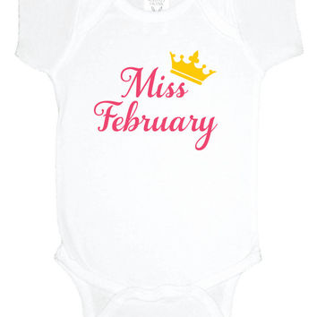 Miss February baby bodysuit, baby one piece, baby shower gift, gender reveal, baby girl clothes, gift under 20, winter baby shower
