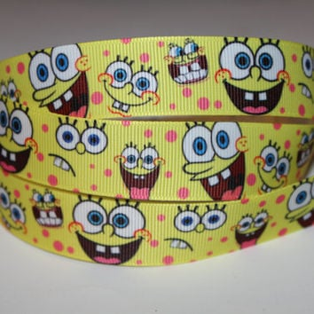 "1 Yard of Spongebob 7/8"" Grosgrain Ribbon"