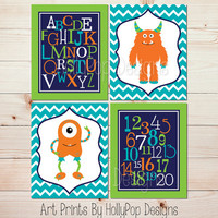 Toddler Boy Bedroom Decor Monster Wall Art ABC number prints Turquoise Orange Nursery Decor Kids Playroom Art Boys Room Art Prints #1263