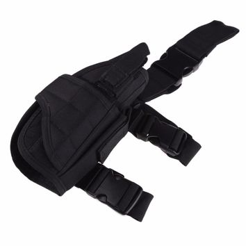 Adjustable Outdoor Tactical Pouch Wide Magic Double Tape Strap Gun Drop Leg Thigh Holster w/ Magazine Pouch Holster Case