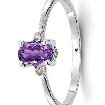 CERTIFIED 0.42 carats 14kt White Gold Diamond Purple Amethyst Birthstone Band Ring