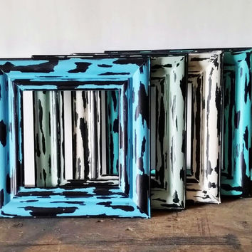 Chunky Style Beach Picture Frames Set Of 4 Turquoise Blue and White Rustic Wall Art