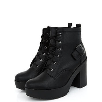 Black Chunky Lace Up Strap Back Shoe Boots