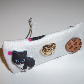 Hair Barrette -Tabby Cat Left His Heart to Chocolate Cookie - on White (Left)  - Cat Ornament Hair Clip