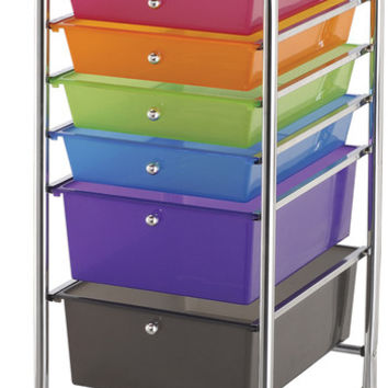 "6 drawers multicolor storage cart - 13"" x 32"" x 15.5"""