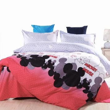 USA Europe Russian Kids Bedding Set Mickey Mouse Single Size Duvet Cover Set Queen King Quilt Cover Bed Set Bedclothes 2017 New