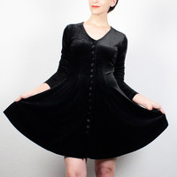 Vintage Black Velvet Dress Mini Dress 1990s Dress Soft grunge Dress Long Sleeve Goth Skater Dress 90s Dress Wednesday Addams Dress M Medium