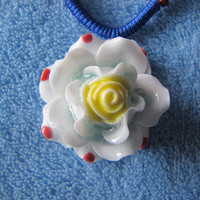 Ceramic Necklace.White Flower.Ceramic Art,Handmade